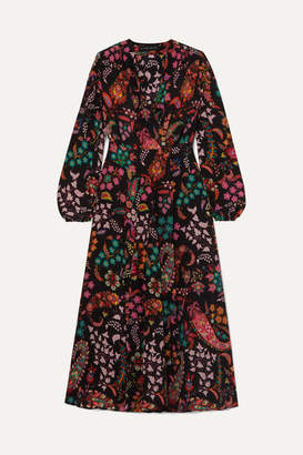 Etro Printed Silk Crepe De Chine Wrap Dress - Black