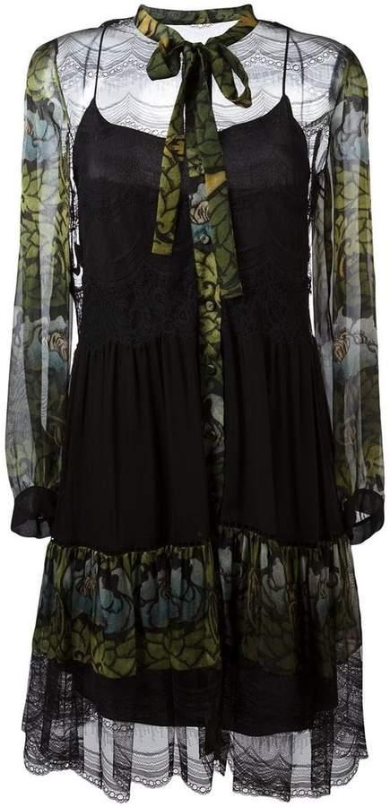 Alberta Ferretti floral print sheer dress
