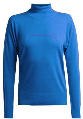 MM6 MAISON MARGIELA Embroidered Roll Neck Wool Sweater - Womens - Blue