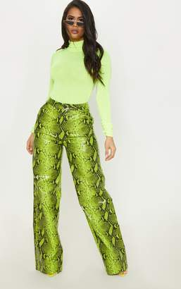 PrettyLittleThing White Faux Leather Snake Print Wide Leg Trouser