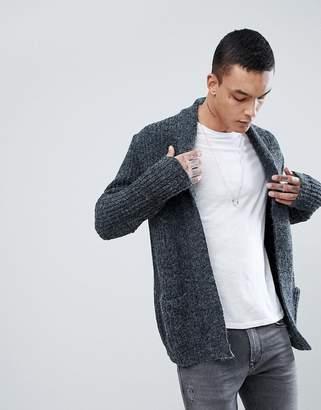 Asos DESIGN Shawl Cardigan In Fluffy Yarn