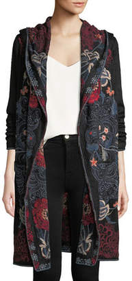 Johnny Was Bella Hooded Open-Front Embroidered Cardigan, Plus Size
