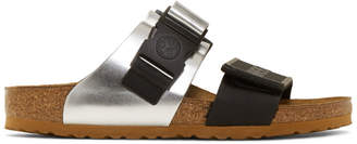 Rick Owens Black and Silver Birkenstock Edition Rotterdam Combo Sandals