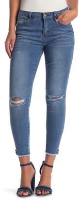 Velvet Heart Jewel Frayed Hem Ankle Jeans