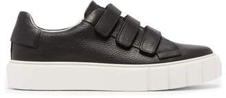 Primury - Scratch Grained Leather Trainers - Mens - Black White