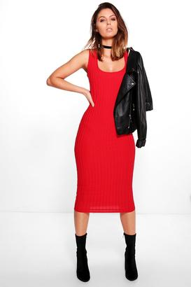 boohoo Jo Ribbed Square Neck Midi Bodycon Dress $38 thestylecure.com