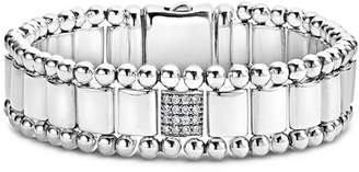 Lagos Sterling Silver Caviar Spark Pavé Diamond Station Link Bracelet