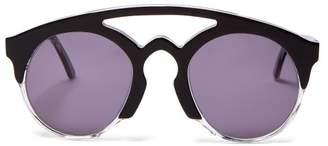 Marques Almeida Marques'almeida - Half Frame Acetate Aviator Sunglasses - Womens - Black