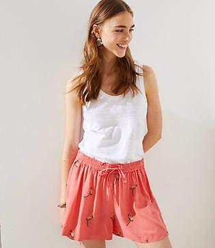 LOFT Embroidered Flamingo Fluid Drawstring Shorts