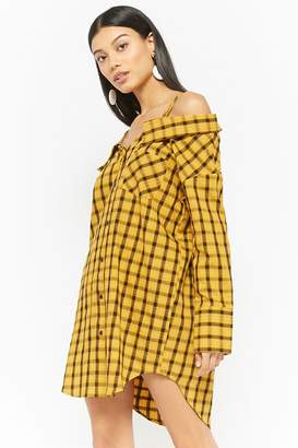 Forever 21 Plaid Open-Shoulder Shirt Dress