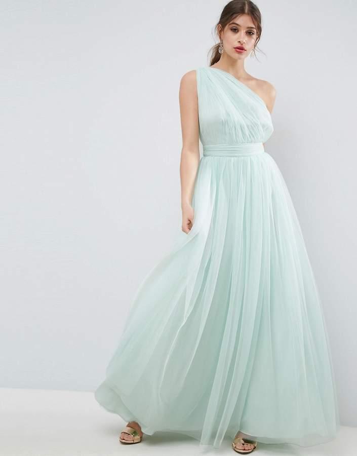 AsosASOS PREMIUM Tulle One Shoulder Maxi Dress