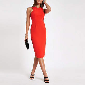 River Island Womens Red cross high neck bodycon midi dress