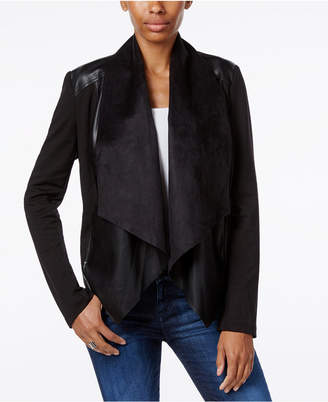 Kut from the Kloth Faux-Leather-Trim Draped Jacket $88 thestylecure.com