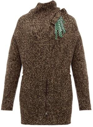 Toga Detachable Brooch Ribbed Wool Blend Sweater - Womens - Brown