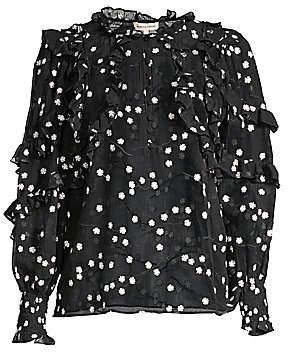 Rebecca Taylor Women's Allessandra Sheer Ruffle Silk-Blend Blouse