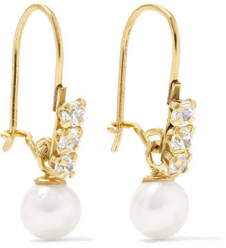 Loren Stewart - Lucille 14-karat Gold, Cubic Zirconia And Pearl Earrings