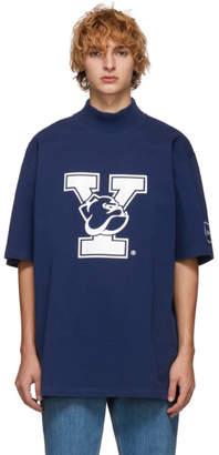 Calvin Klein Blue Yale Oversized Mock Neck T-Shirt