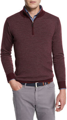 Peter Millar Striped Quarter-Zip Sweater, Charcoal $198 thestylecure.com
