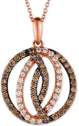 LeVian Le Vian Chocolatier® Diamond Circle Pendant in 14k Strawberry Rose Gold (1 ct. t.w.)