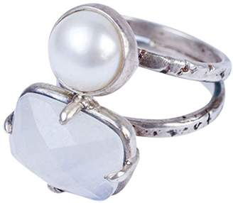 Chan Luu White Freshwater Cultured Pearl and Moonstone Sterling Ring Size 6