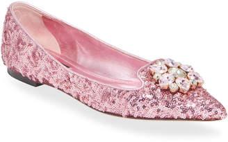 Dolce & Gabbana Jeweled Sequin Ballerina Flats