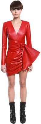 Draped Leather Blazer Mini Dress