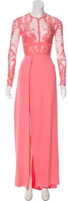 Elie Saab Lace Long Sleeve Gown Pink Lace Long Sleeve Gown