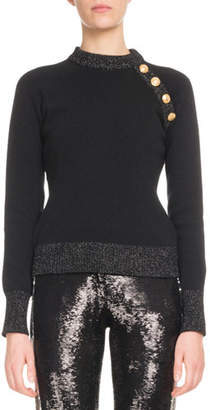 Balmain Long-Sleeve 4-Button Cashmere Sweater