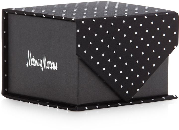 Neiman Marcus Polka-Dot Silk Tie in Box, Black