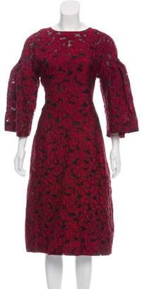 Dolce & Gabbana Jacquard Bell Sleeve Dress Red Jacquard Bell Sleeve Dress