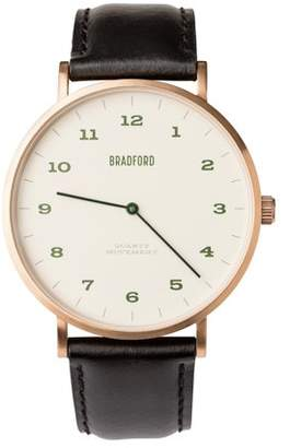 Bradford Taylor | Polished Stainless/Oil Tan Leather Black Band