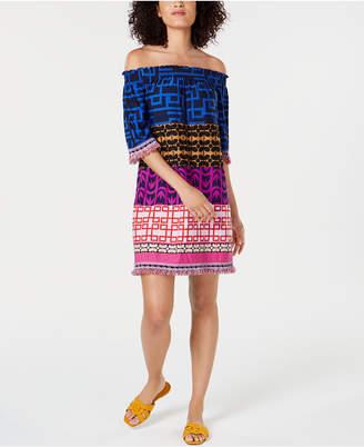 Trina Turk Printed Off-The-Shoulder Dress