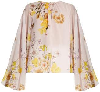 Giambattista Valli Cape-back floral-print silk-georgette blouse