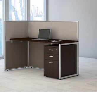 Bush Business Furniture Easy Office Straight Desk with 3 Drawer Mobile Pedestal Bush Business Furniture