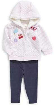 9a7fb3eceea0 Little Me Baby Girl s 3-Piece Faux Fur-Lined Patch Hoodie Leggings Set