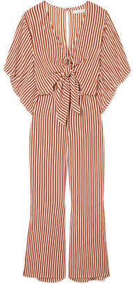 Faithfull The Brand Tilos Tie-front Striped Voile Jumpsuit