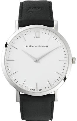 Larsson & Jennings LJ-W-MORKT Lugano black leather watch