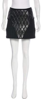 Balenciaga Leather-Paneled Mini Skirt