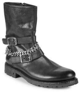 John Varvatos Engineer Lugged Chain Leather Boots