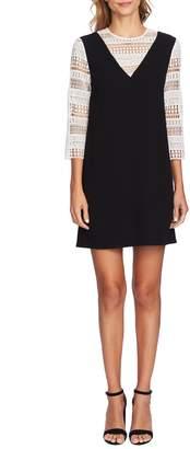 CeCe Mixed Media Shift Dress