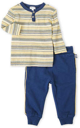 Splendid Newborn/Infant Boys) Two-Piece Stripe Henley & Joggers Set
