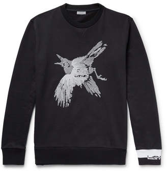 Lanvin Embroiderd Loopback Cotton-Jersey Sweatshirt - Black