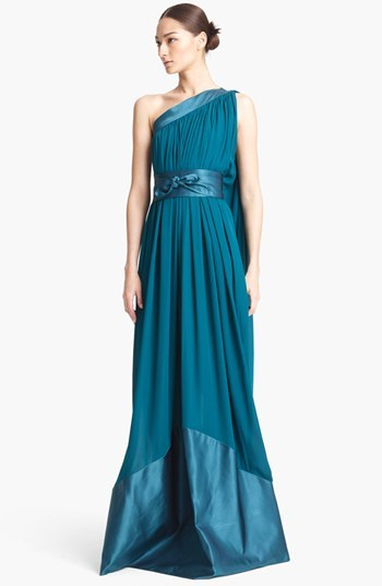 Naeem Khan One Shoulder Silk Gown