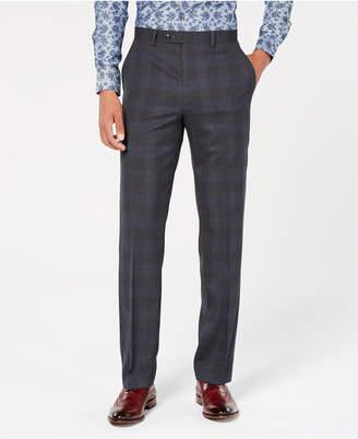 Sean John Men Classic-Fit Stretch Gray/Blue Plaid Suit Pants