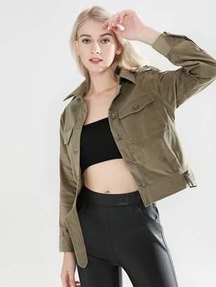 SheinShein Pocket Front Button Up Denim Jacket