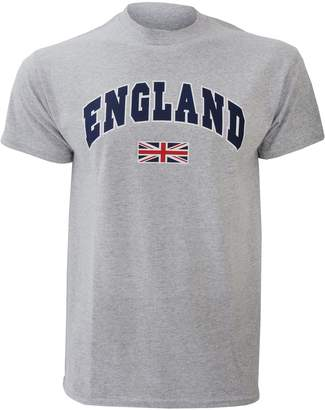England Mens Union Jack Print 100% Cotton Short Sleeve Casual T-Shirt/Top (Sport Grey)