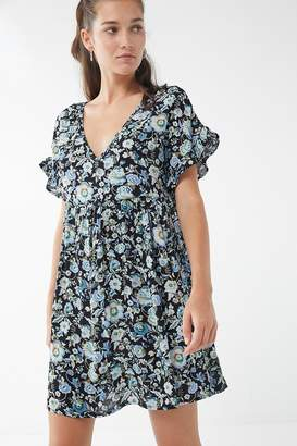 Urban Renewal Vintage Remnants Floral Ruffle Sleeve Babydoll Dress