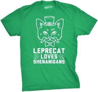 Crazy Dog T-shirts Crazy Dog Tshirts Mens Leprecat Loves Shenanigans Funny Irish Cat Lover St. Patrick's T shirt -M