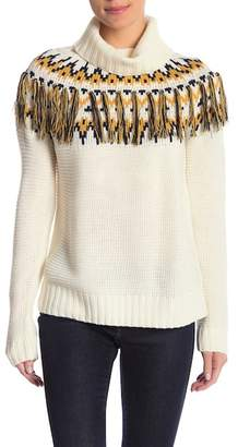Romeo & Juliet Couture Patterned Fringe Turtleneck Sweater