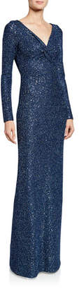 St. John Luxe Sequin V-Neck Long-Sleeve Column Gown with Twist Front